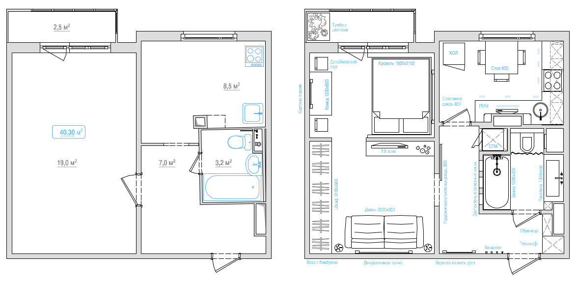 Дизайн однокомнатной квартиры: мозговой штурм и концепция. и.
