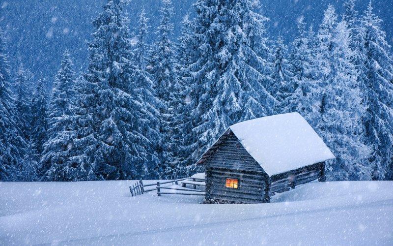 Обои На Рабочий Стол Заснеженный Домик Зима