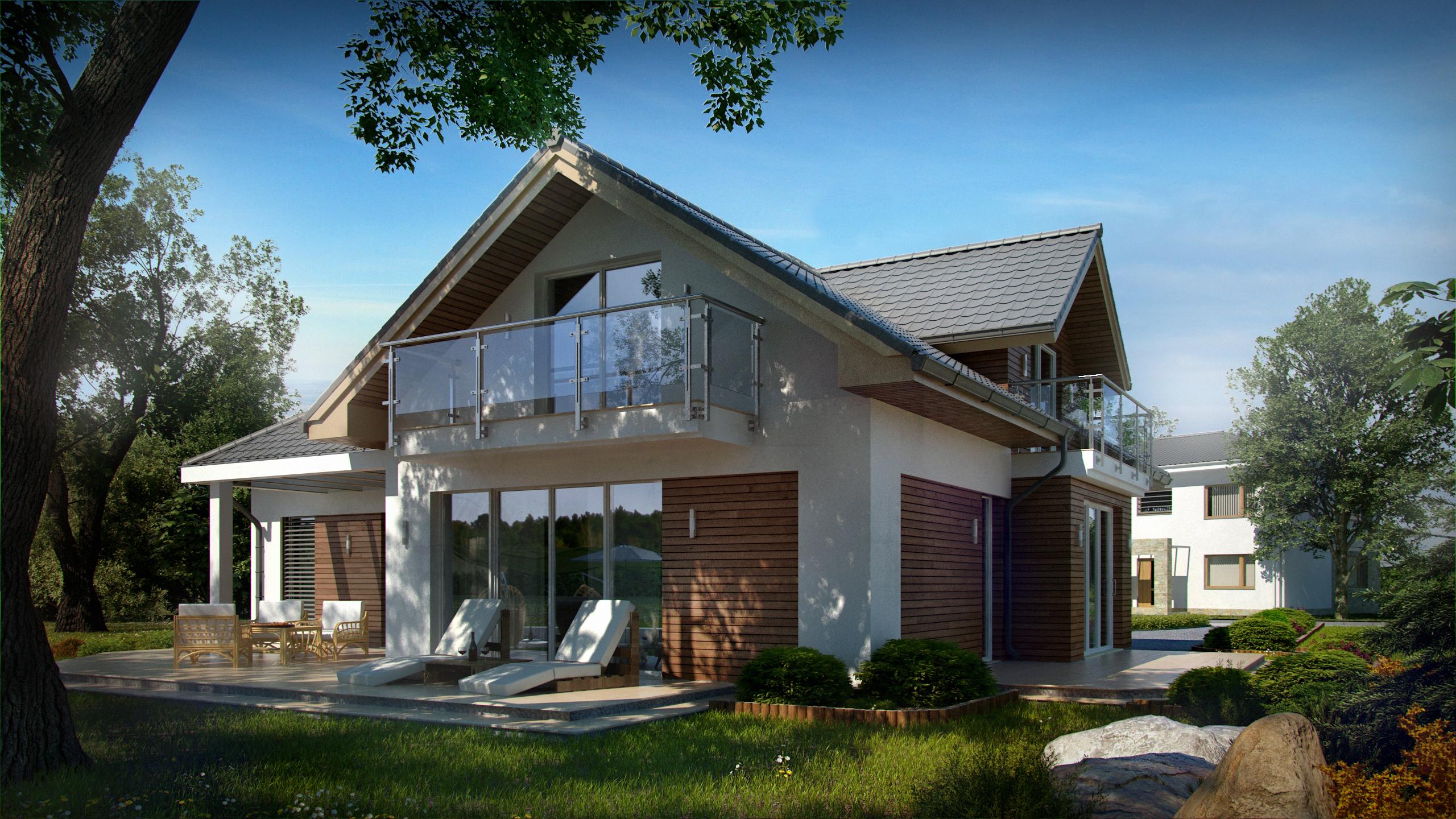 Проект классического традиционного дома с гаражом и оригинал.