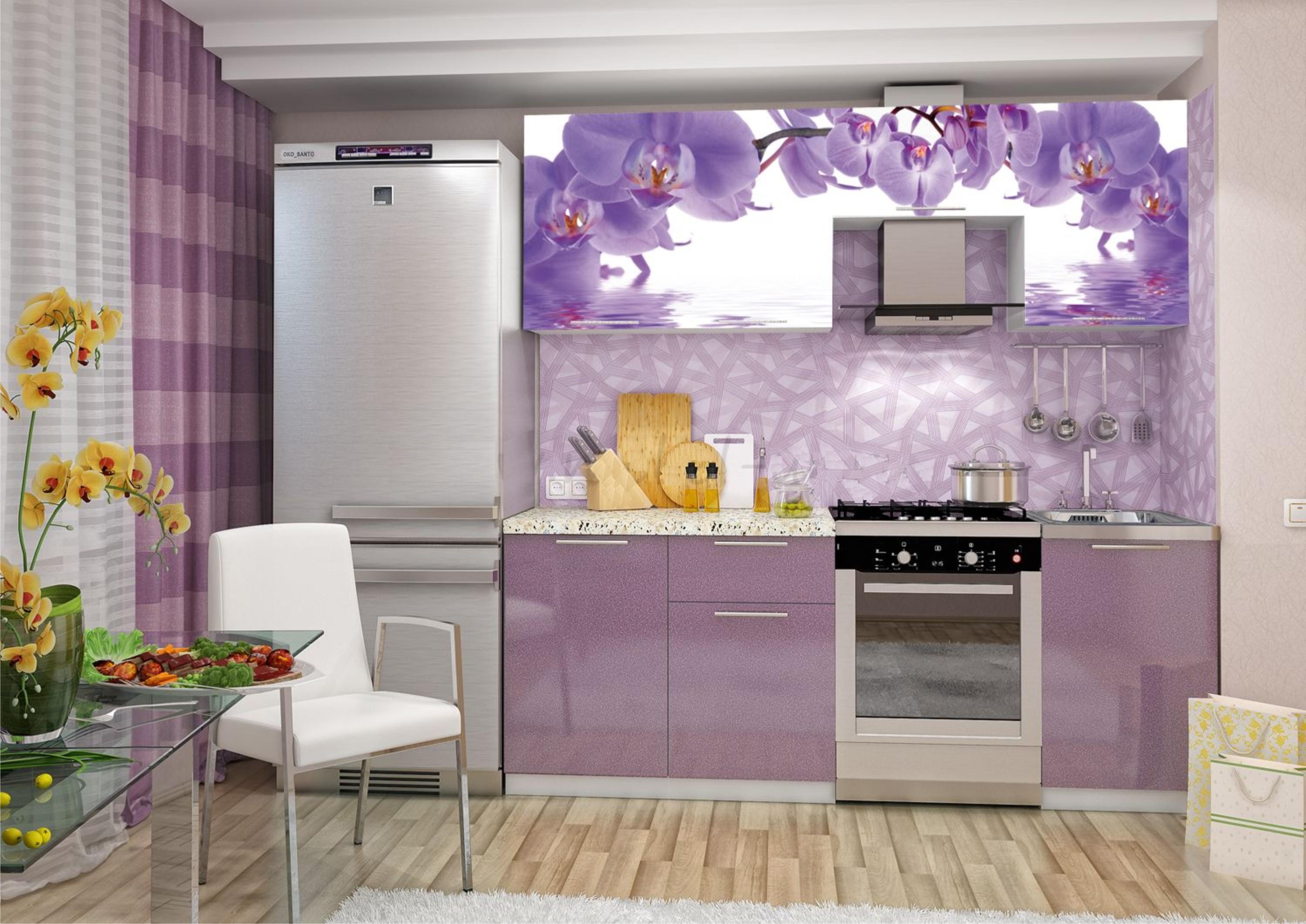 Кухни :: прямые кухни :: кухня фотопечать абрикос 2100 мм (д.