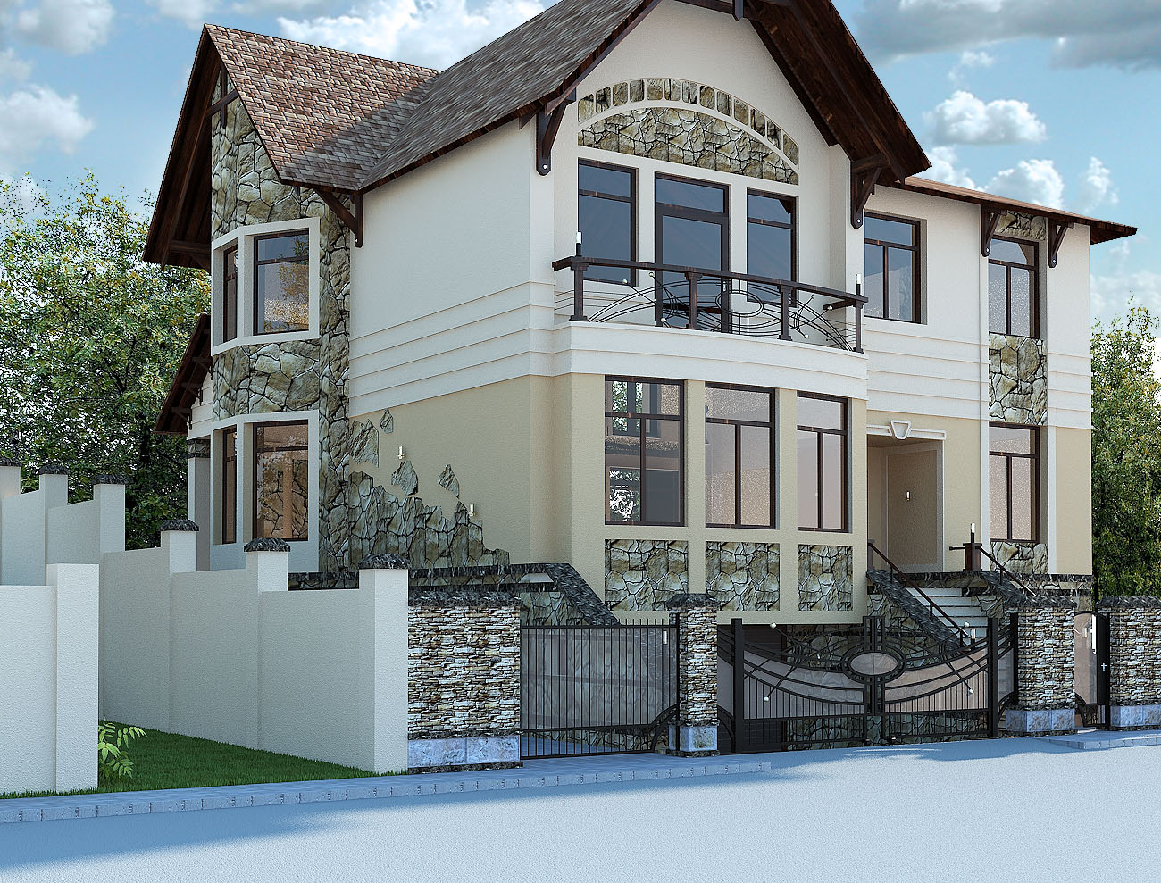 Дизайн фасада из кирпича частного дома