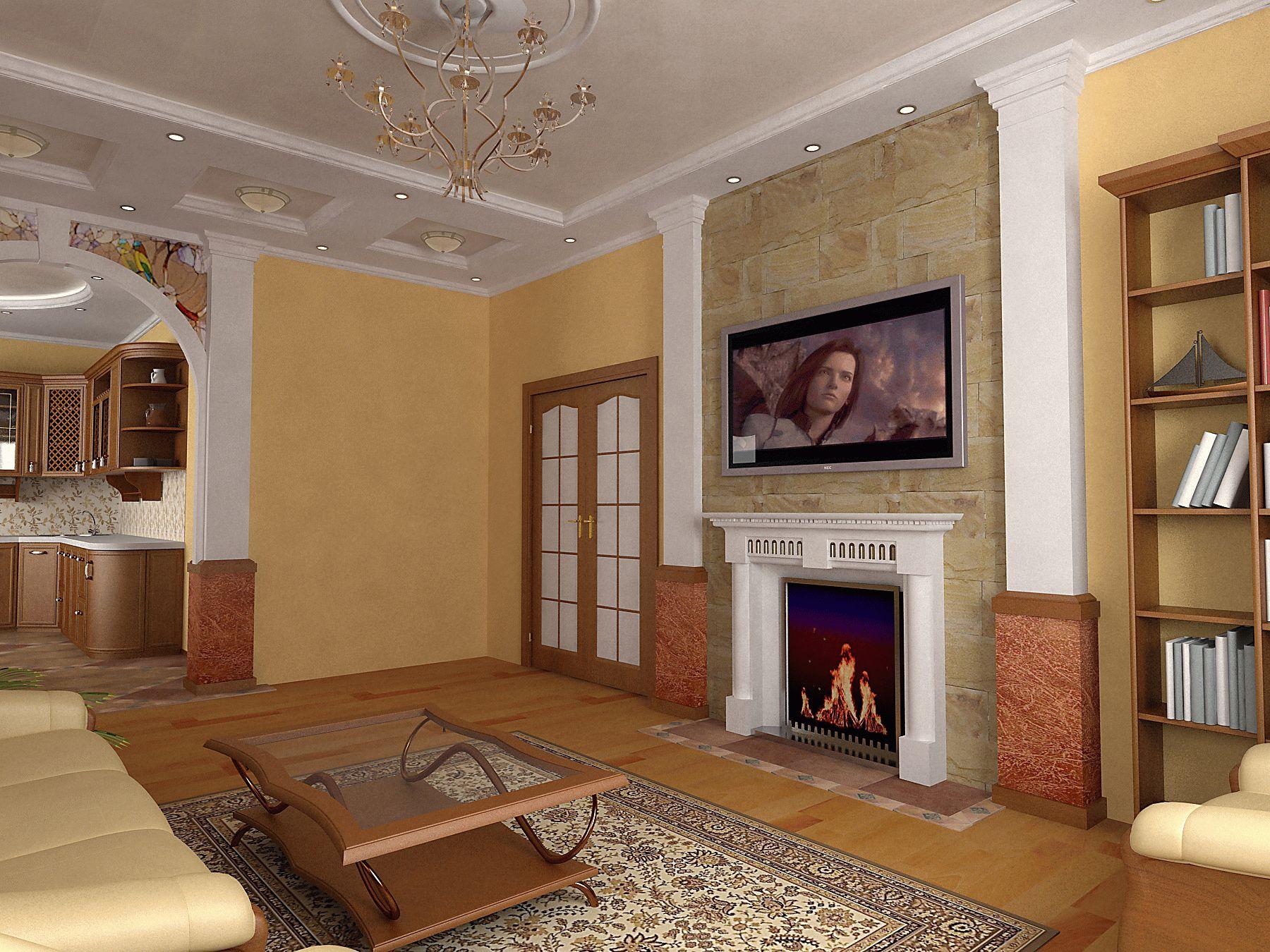 классический интерьер гостиной с камином фото