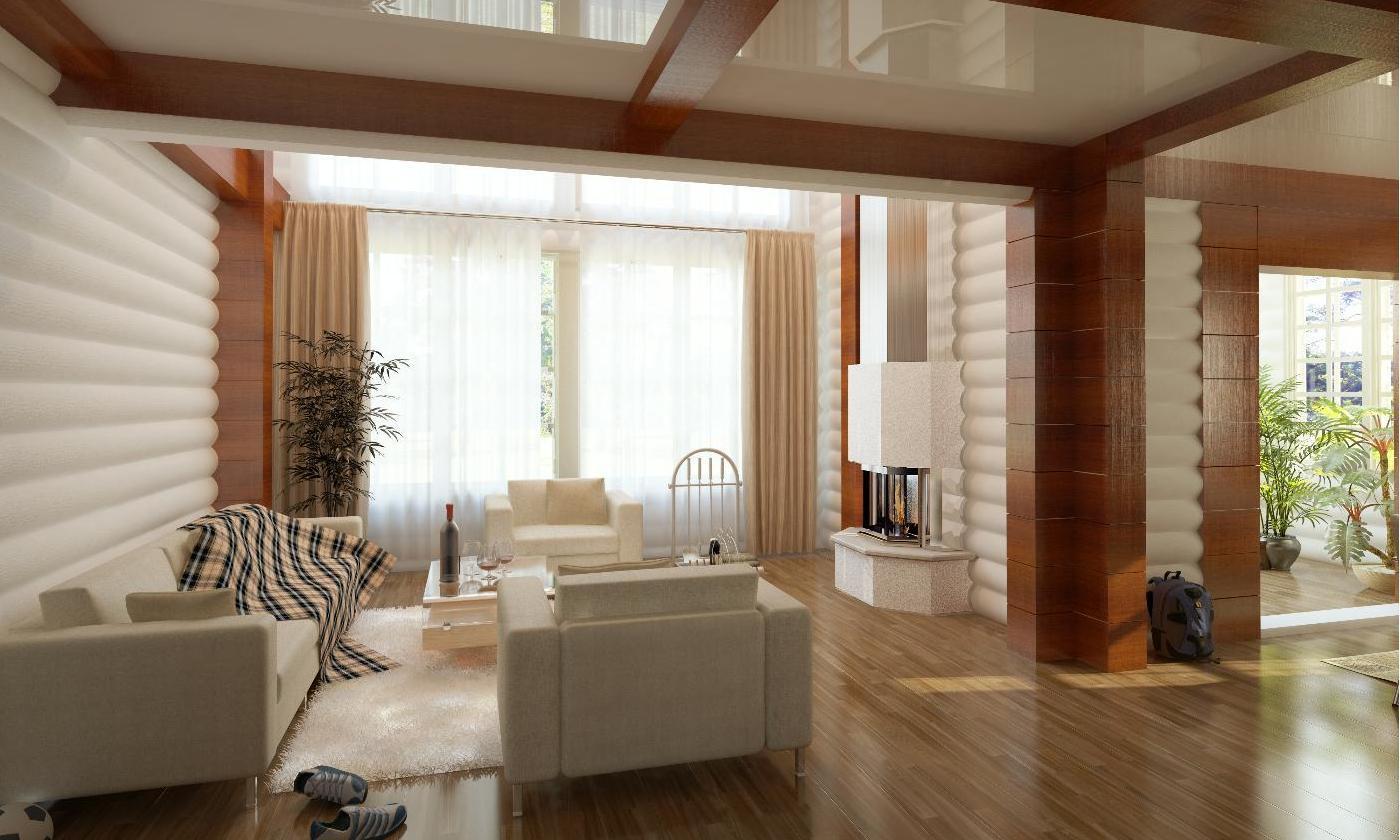 Дизайн гостиной в брусовом доме фото