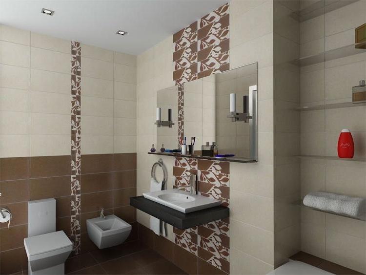 Ванная дизайн коричневая с бежевым 31
