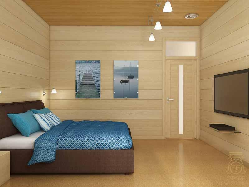дизайн спальни в деревянном доме фото