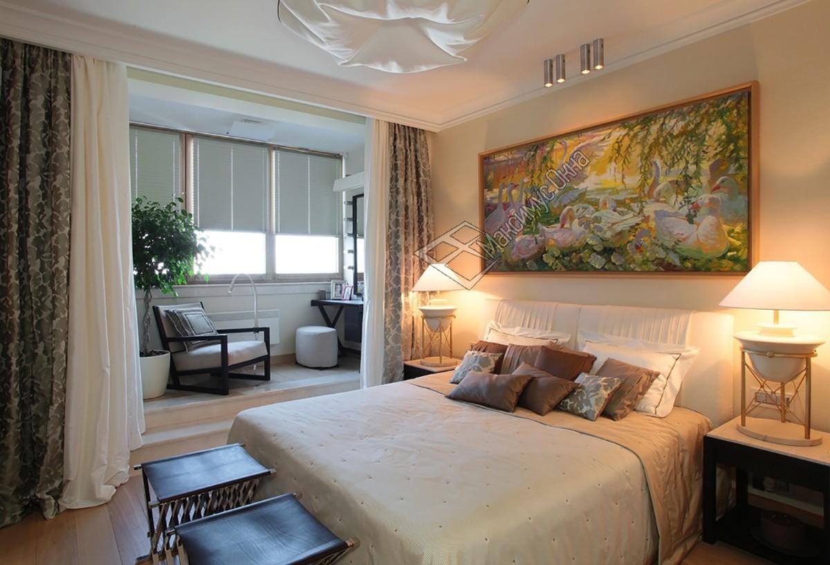 Фото дизайна спален совмещенных с балконом.
