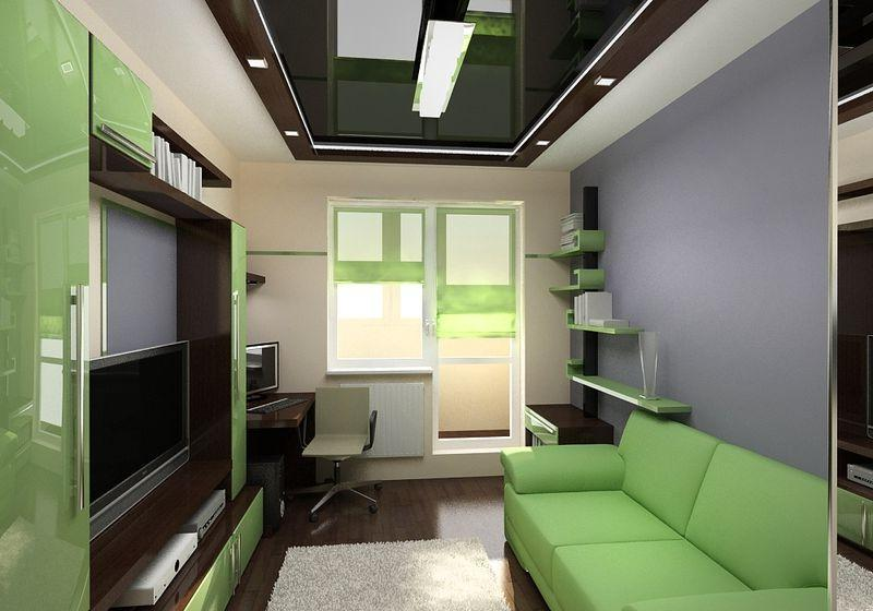 """Дизайн длинной узкой комнаты с балконом """" картинки и фотогра."""