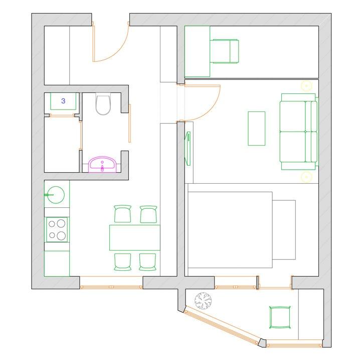 Однокомнатная квартира п-44 для семьи с ребенком repair.thew.