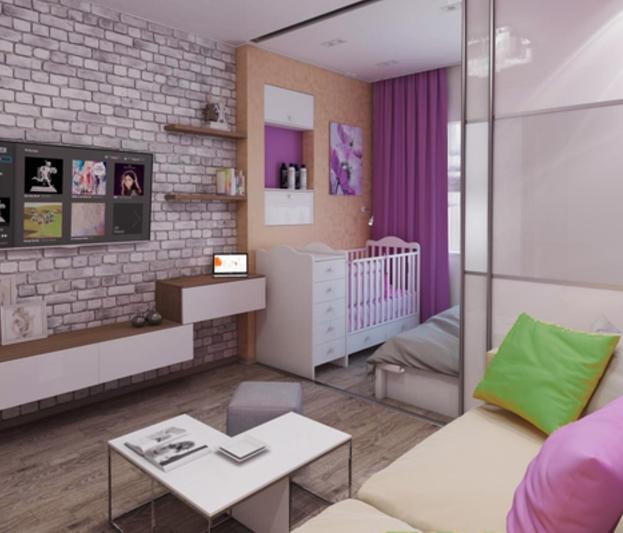 Дизайн однокомнатной квартиры с ребенком - примеры интерьера 71
