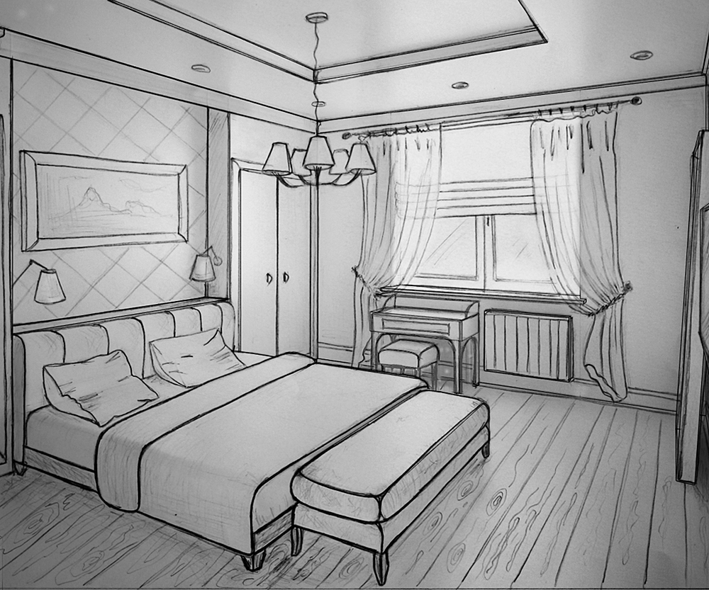 Интерьер комнаты рисунок или фото