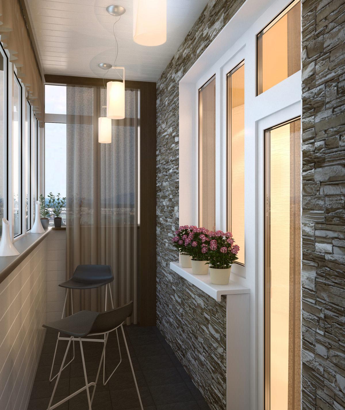Дизайн кухни прямоугольной формы с выходом на балкон или лод.