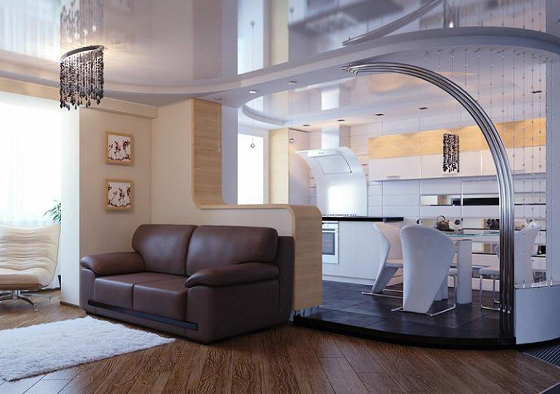 Перегородка между кухней и гостиной: фото, дизайн, виды.