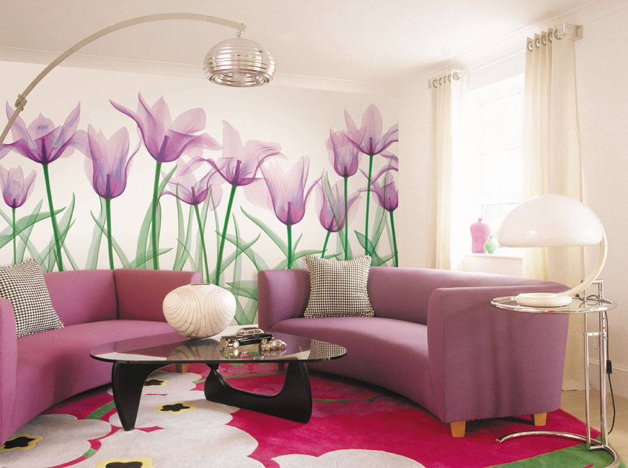 для любителей интерьер обои в большие цветы как нижнее