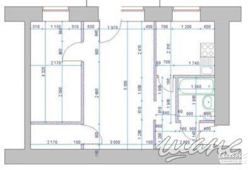 Проект перепланировки 2х-комнатной хрущевки - prodom.kz.