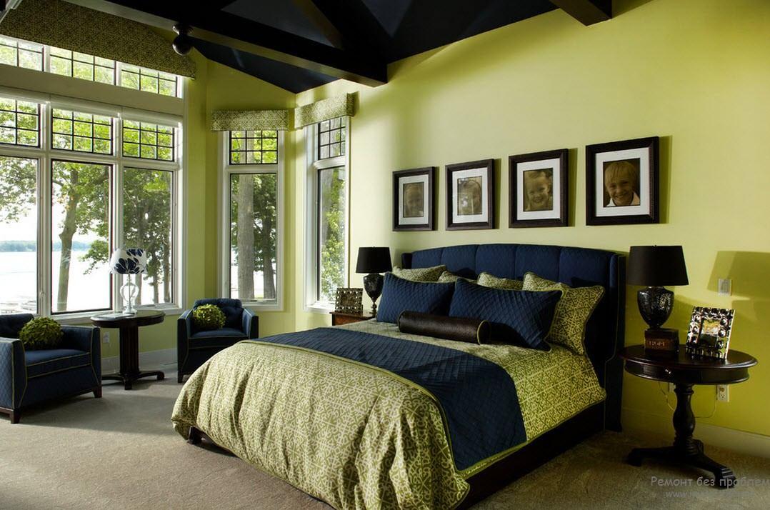 белье термобелье интерьер спальни обои зеленого цвета мебель темносерого занятий