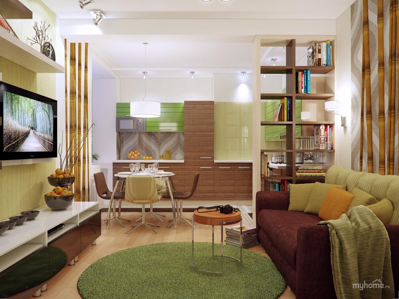 """Дизайн однокомнатной квартиры совмещенной с детской """" картин."""