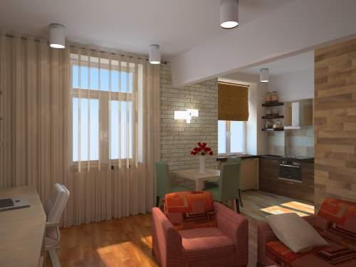 """Дизайн штор для гостинной совмещенной с кухней """" картинки и ."""