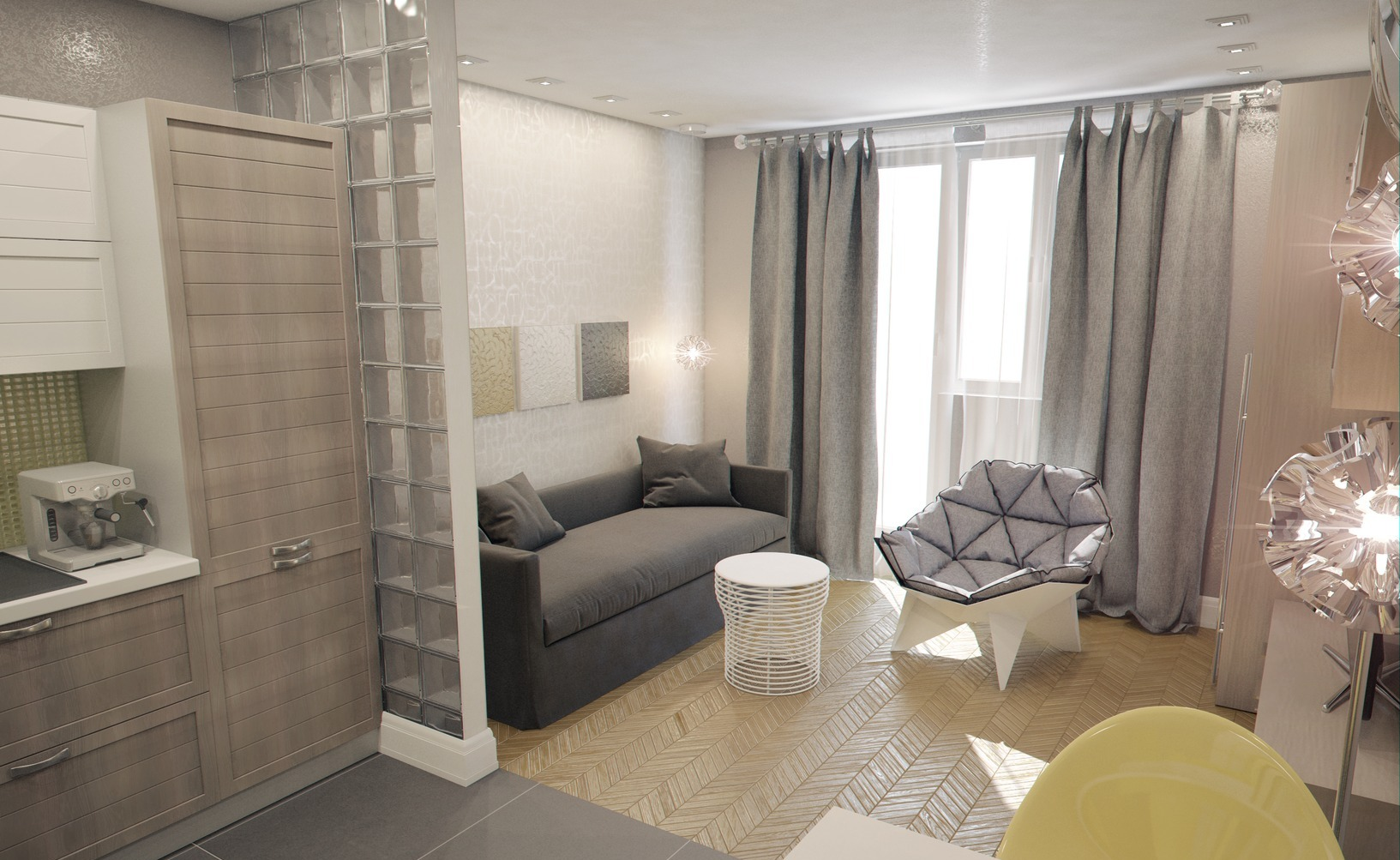 Интерьер маленькой квартиры-студии 28 кв. м..