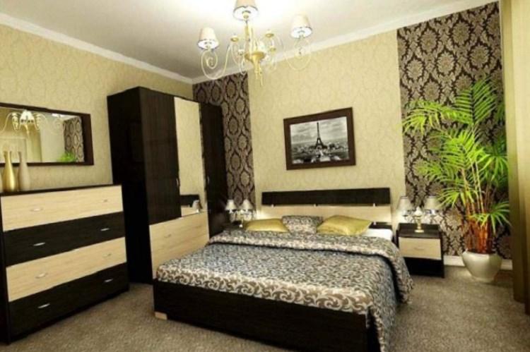 Комбинированные обои в спальне фото дизайн