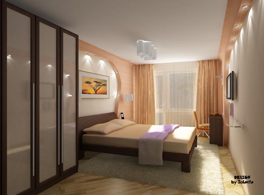 Фото дизайн спальни узкая длинная комната.