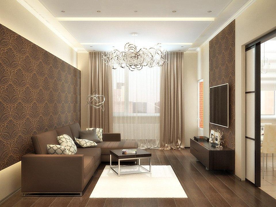 дизайн прямоугольного зала 18 кв м фото