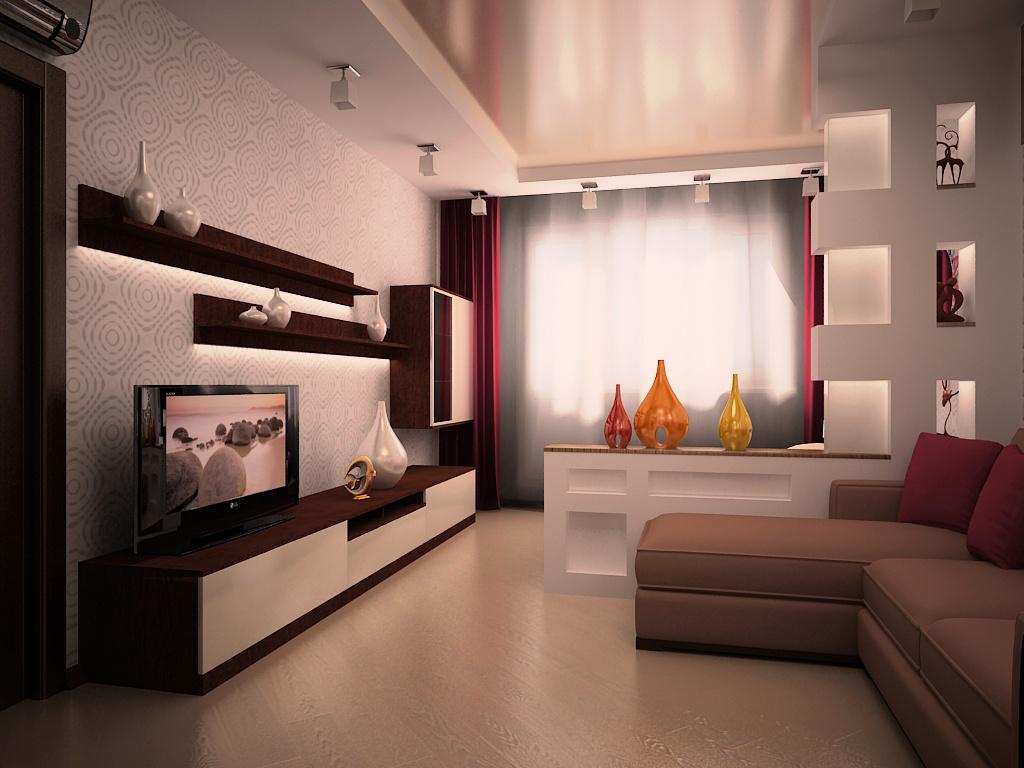 """Дизайн маленького зала в панельном доме """" картинки и фотогра."""
