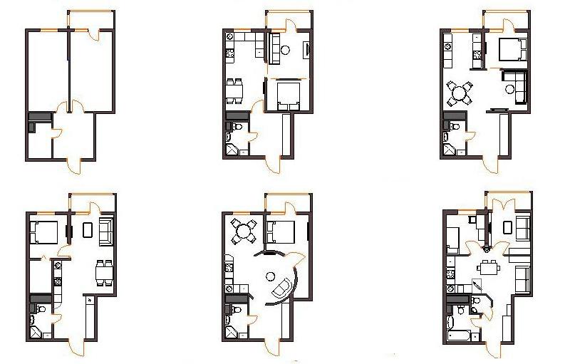 Варианты перепланировки однокомнатной квартиры в двухкомнатн.