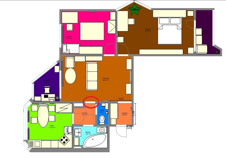 """Перепланировка 1 комнатной квартиры п44т """" картинки и фотогр."""