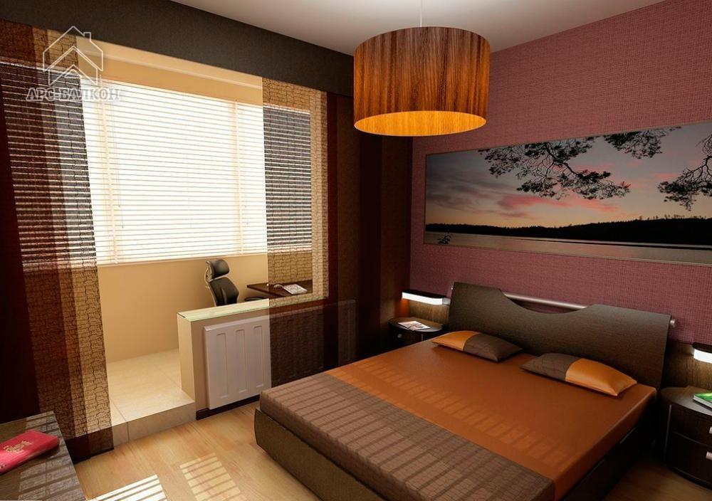 """Дизайн узкой спальни с лоджией """" картинки и фотографии дизай."""