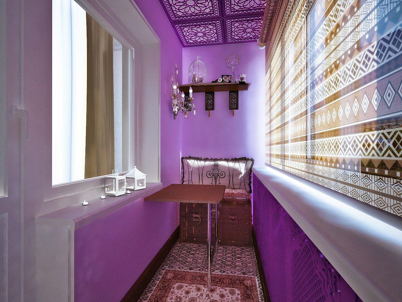 Фото балконов в фиолетовых тонах.