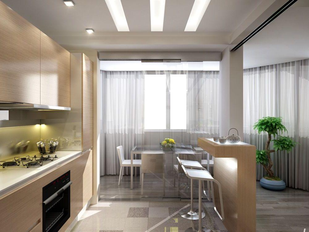 Интерьер кухни гостиной совмещенной с балконом фото..