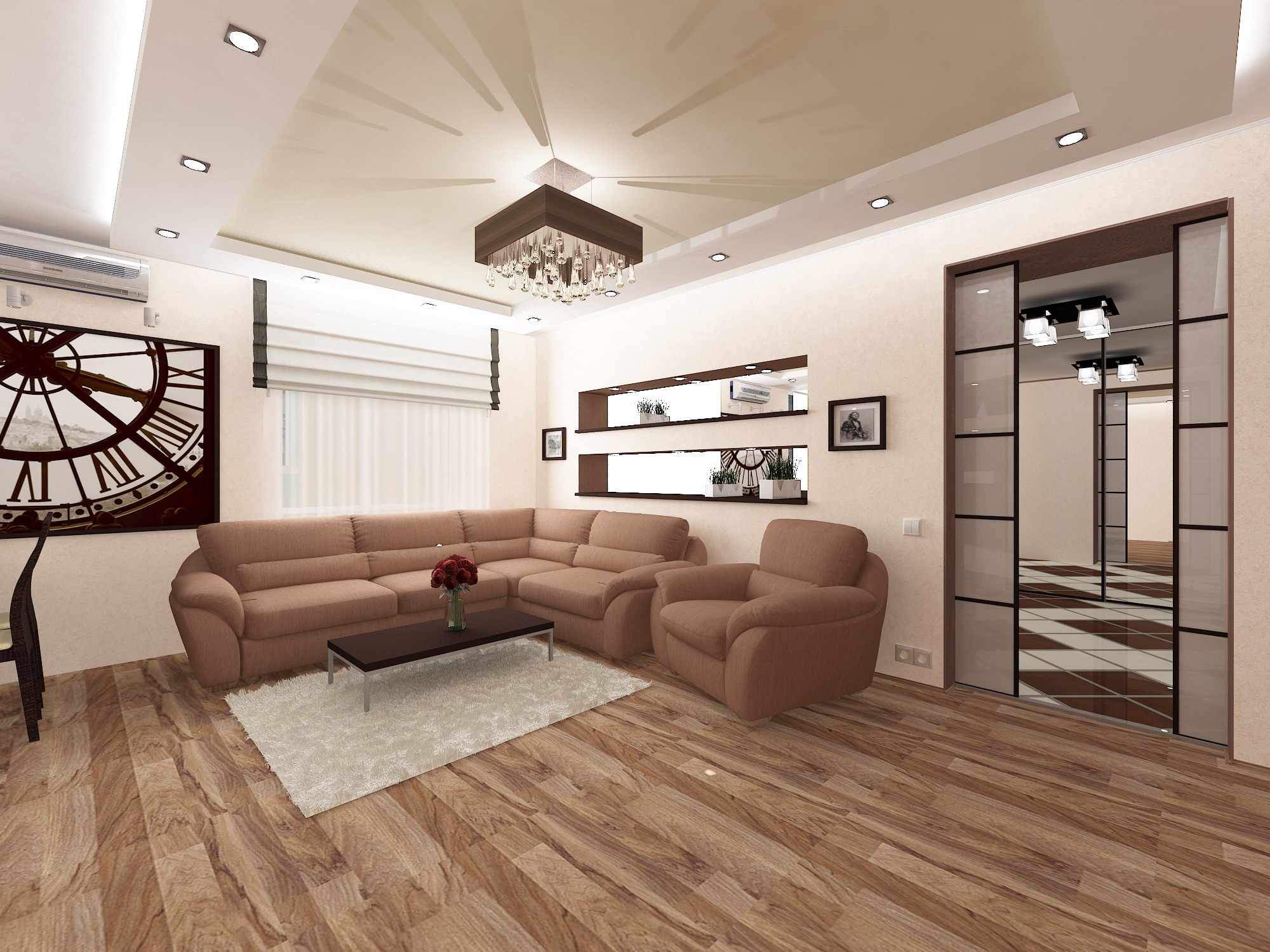Дизайн квартиры 58 кв.м двухкомнатной
