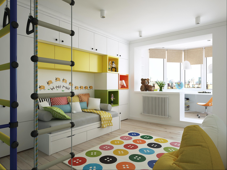 Детская комната для мальчика с балконом.