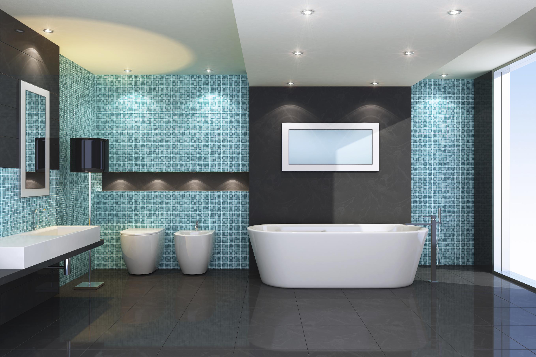 интерьер ванной комнаты голубой цвет