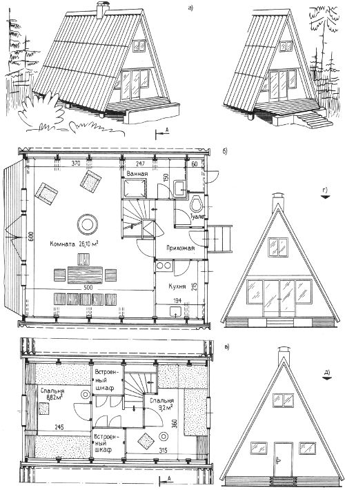 схема как выстроить бунгало дачный домик