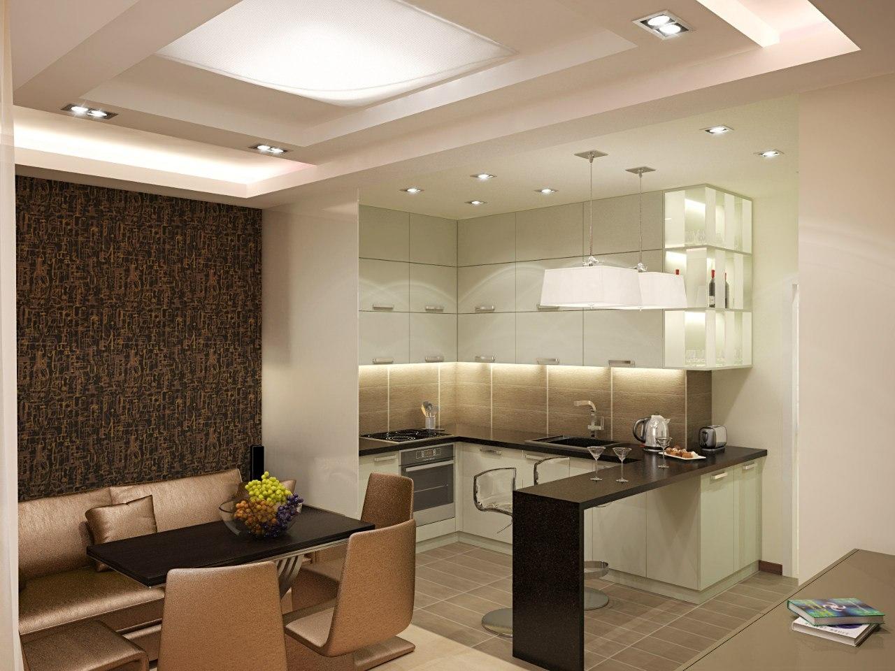 Интерьер кухни столовой фото.