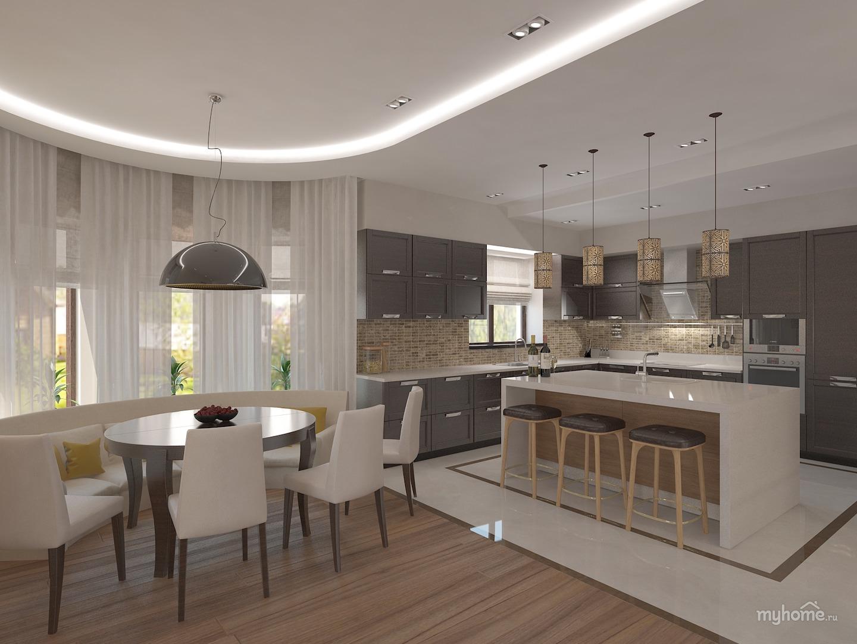 интерьер кухни 25 кв м в частном доме фото