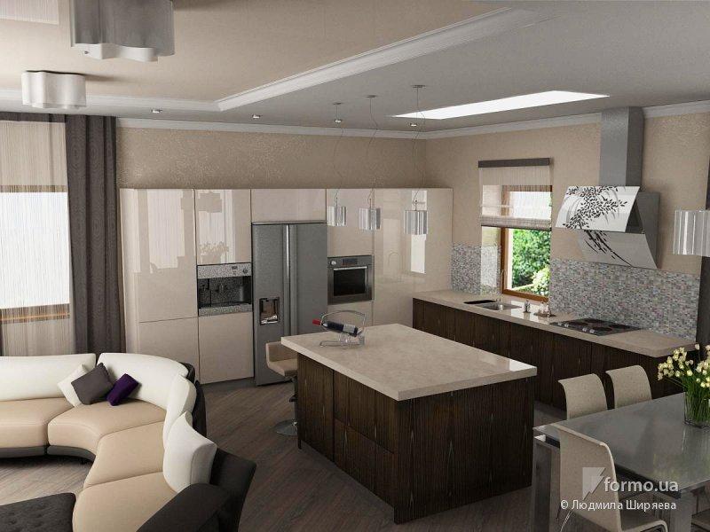 Дизайн кухни 25 кв.м фото в частном доме