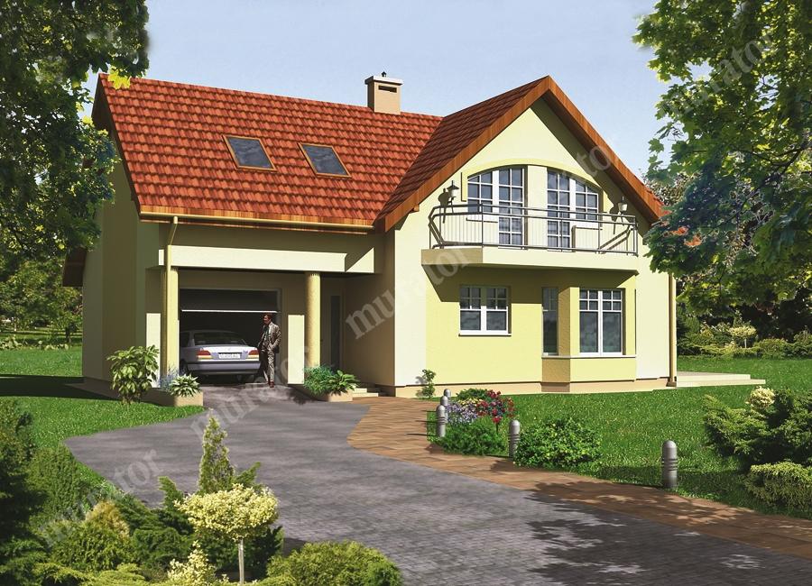 Проект одноэтажного дома с мансардой, с гаражом - муратор ц1.