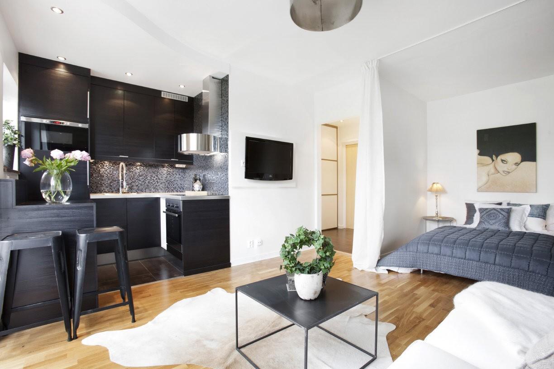 Квартира-студия 26 кв.м: фото, интерьер и планировка, зониро.