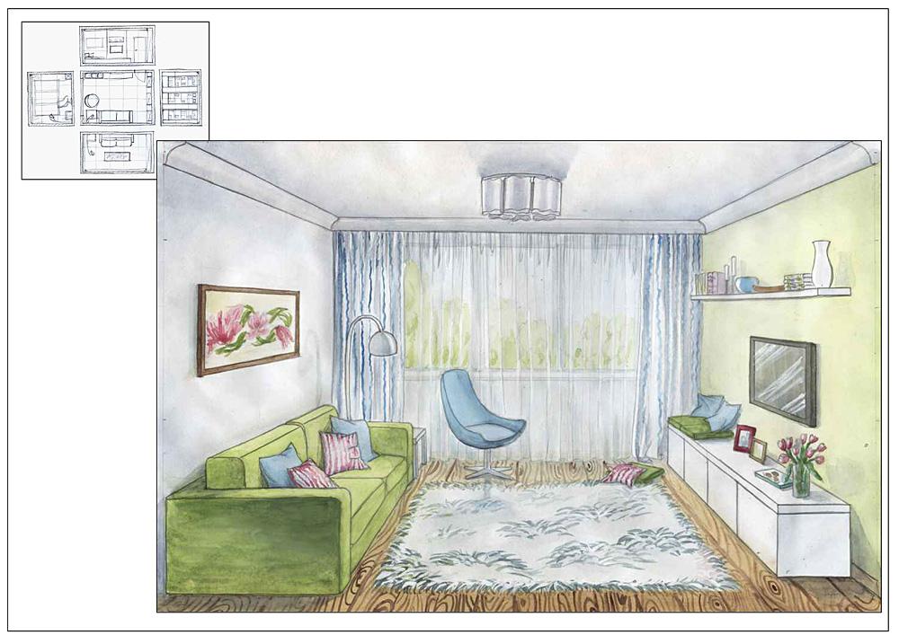 Рисование 7-класс фронтальное изображение современной комнаты