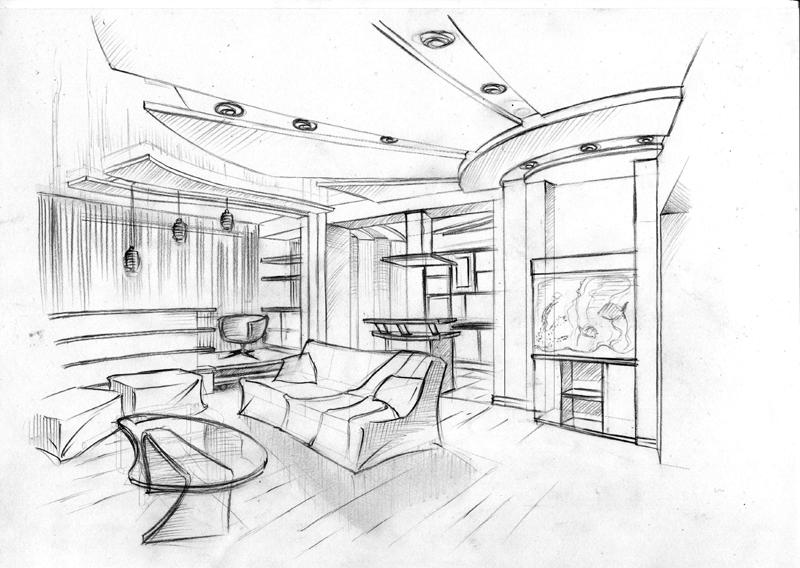 Дизайн комнат нарисованный