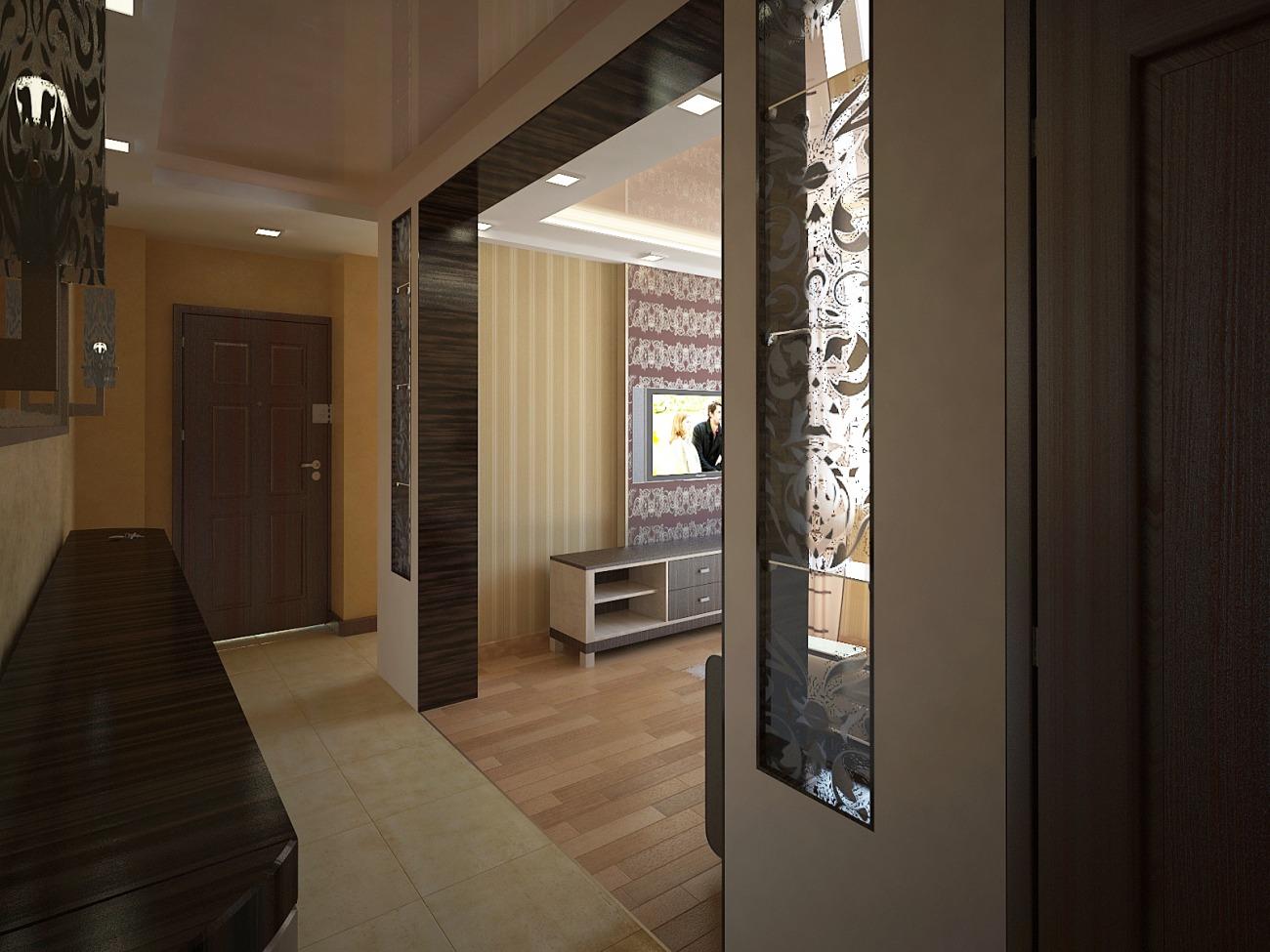 Дизайн коридора в панельном доме трехкомнатной квартиры.