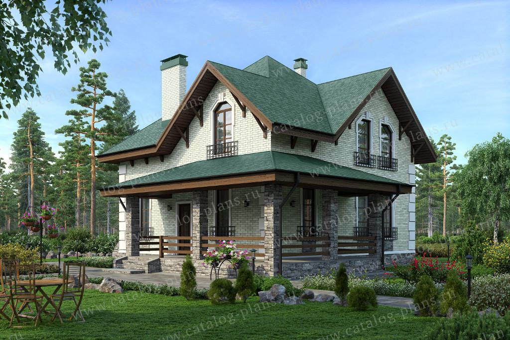 Проект дома из газобетона с-6 - 189 м2 (11,24 х 11,24) - ком.