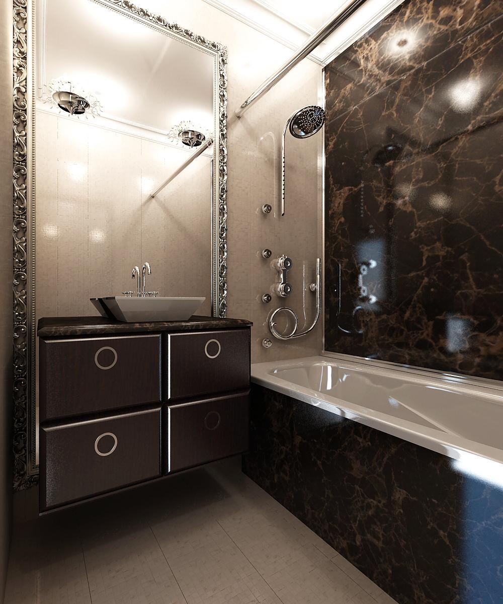 Дизайн ванной комнаты и туалета небольшого размера 113