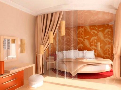 """Дизайн маленькой спальни в персиковых тонах """" современный ди."""