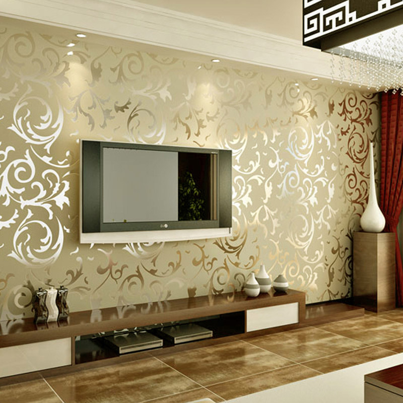 Дизайн обои для зала комбинированные 2 видов фото