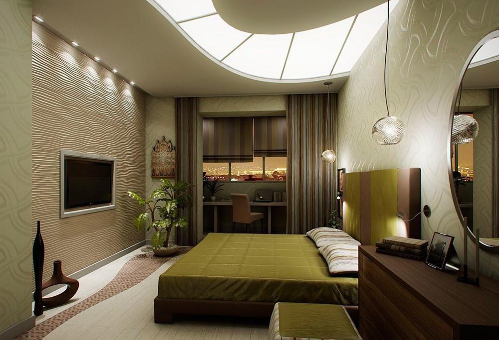 Узкая спальня дизайн фото.