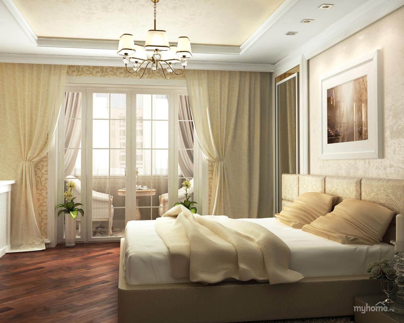 """Дизайн прямоугольной спальни с балконом """" картинки и фотогра."""