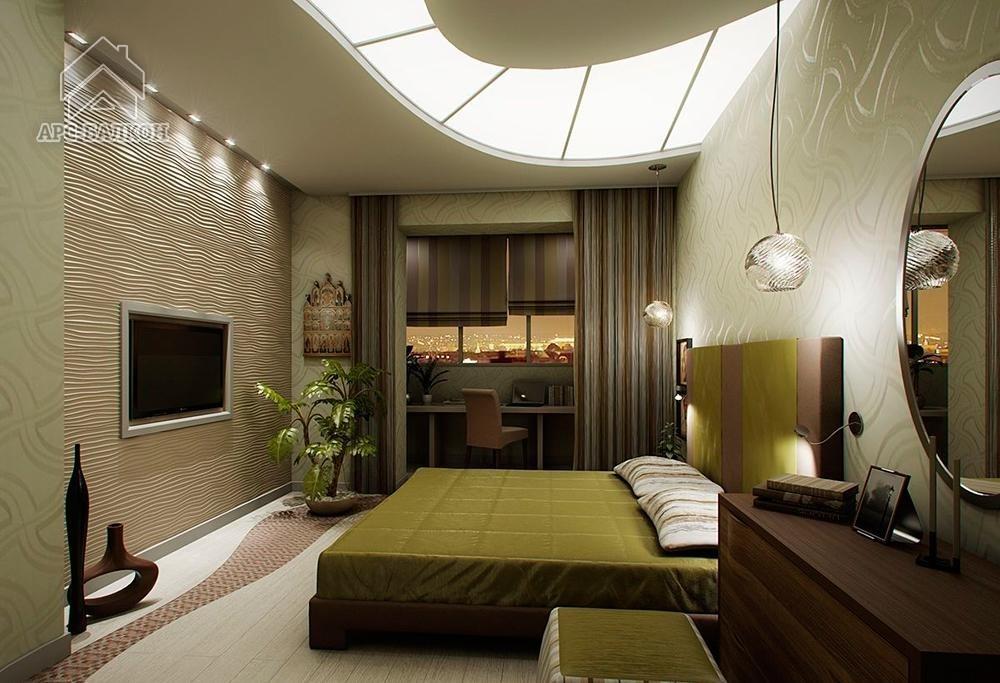 Интерьер спальни 13 кв.м с балконом фото.